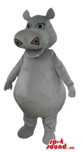Cute gray Hippo SpotSound Mascot US costume wild animal fancy (Hippo Mascot)