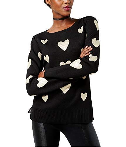 INC Womens Hearts Knit Metallic Pullover Sweater Black M