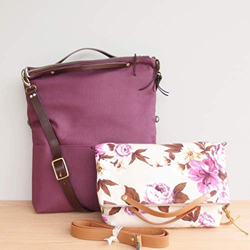 Handcrafted Convertible Barkcloth Foldover Bag in Retro Pink and Sepia Floral or Solid Plum with Leather Strap, Available in 2 Sizes and 3 Hardware Finishes, USA Made ()