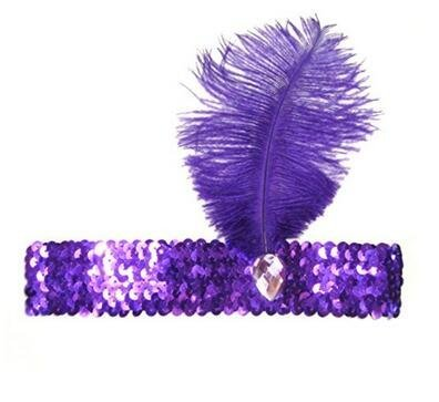 Sequined Show Girl Party Flapper Headband Headdress with Feather Plume Tia-Ve