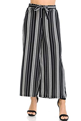(Auliné Collection Womens Wide Leg High Waisted Cropped Palazzo Pants Culottes - Barcode Black Stripe OS)
