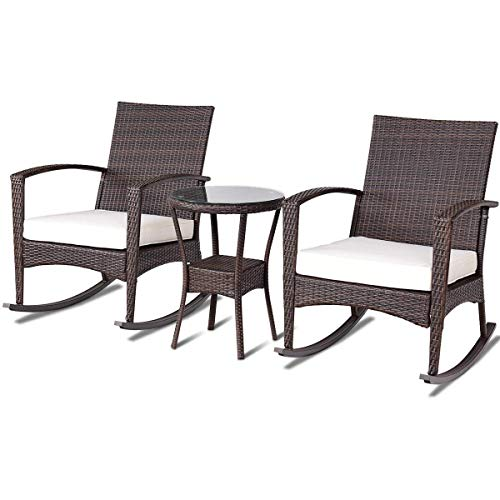 Rocking Chairs Wicker Porch Furniture - TANGKULA Rocking Set 3-Piece Outdoor Patio Porch Garden Backyard Deck All Weather Proof Wicker Furniture Set Glass Coffee Table Cushioned Rocking Chairs Conversation Set