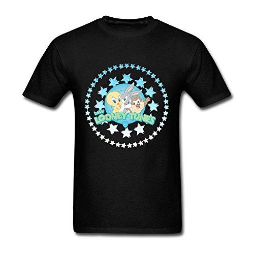 [Geek Men Baby Looney Tunes Logo O-Neck Short Sleeve T-Shirt Black M Custom Printed Costume] (Joni Mitchell Costume)