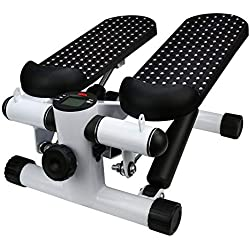 Household Mute Stepper Hydraulic Mute Multi-Function Pedal Indoor Sports Stepper Legs-Shipped from USA (Black,White)
