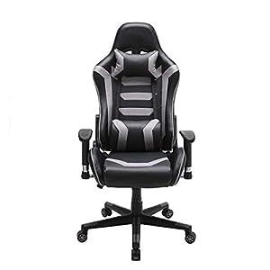 Hironpal Gaming Racing Chair Office Computer Chair PU Leather Executive Ergonomic Adjustable Swivel Chair (Grey)