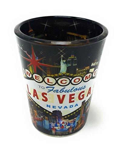 LAS VEGAS STRIP HOTELS COLLAGE SHOT GLASS (BLACK BACKGROUND)