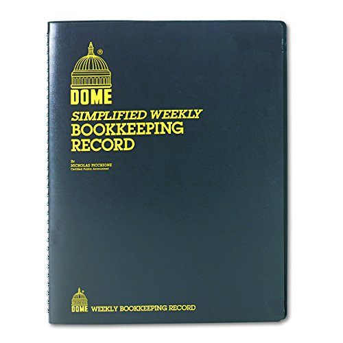 Dome DOM600 Bookkeeping Record Book Weekly 128 Pages 9 x11 Inches, Brown