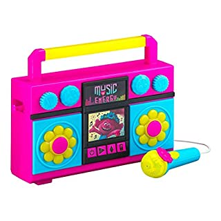 eKids Trolls World Tour Sing Along Boombox with Microphone, Built in Music, Flashing Lights, Real Working Mic for Kids Karaoke Machine, Connects Mp3 Player Aux in Audio Device