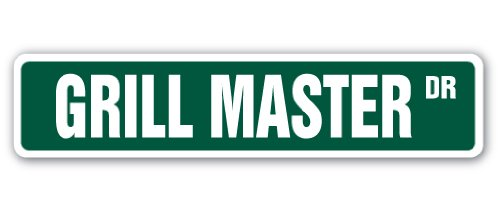 "Grill Master Street Sign Cook BBQ Grilling Cookout Bar | Indoor/Outdoor |  18"" Wide"