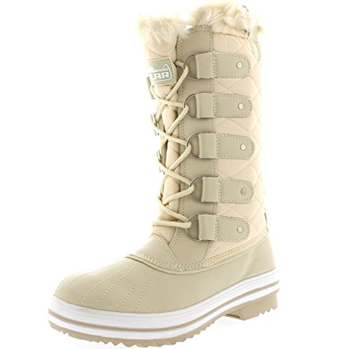 Nylon Tall Boot Winter Beige Snow Women's Polar 0U5w7q8