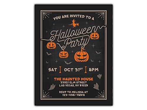 Halloween Pumpkin Invitations, Kids or Adults Birthday Halloween Party Invites, Treat or Trick or Treat Party Invitation, Costume Party Invite -