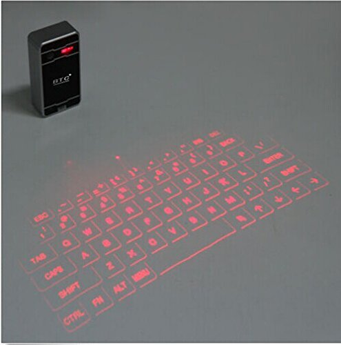 BTC Ultra-Portable Wireless Bluetooth Laser Projection Virtual Keyboard for Apple iPad IOs Android, Black