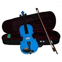 Merano MV300DBL 1/8 Size Blue Violin with Case and Bow+Extra Set of Strings, Extra Bridge, Rosin, Pitch Pipe, Shoulder Rest