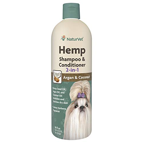 NaturVet Hemp Shampoo & Conditioner 2-in-1 with Argan and Coconut for Dogs,  16oz Liquid, Made in The USA