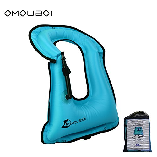 OMOUBOI Unisex Adult Portable Inflatable Canvas Life Jacket Snorkel Vest Diving Safety ()