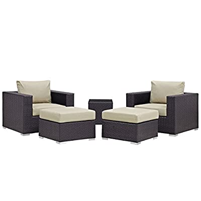 Modway Convene Wicker Rattan 5-Piece Outdoor Patio Furniture Set in Espresso Beige - PATIO REFRESH - Update your backyard or porch with inviting outdoor furniture. Effortlessly accommodate the needs of your outdoor space with furniture that's great for both entertaining and relaxing WEATHER-RESISTANT - Featuring a powder-coated aluminum frame, this modern outdoor patio furniture set comes with an espresso brown synthetic rattan weave, with UV protection for years of outdoor use CONTEMPORARY STYLE - Clean lines, squared corners, and a sleek profile enhance the modern look of this furniture set. The modular collection opens up endless configurations to suit many occasions - patio-furniture, patio, conversation-sets - 417FOLcq%2BYL. SS400  -
