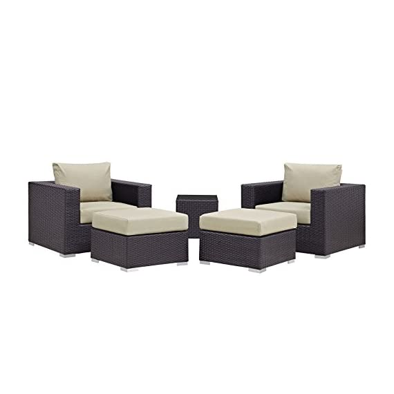 Modway Convene Wicker Rattan 5-Piece Outdoor Patio Furniture Set in Espresso Beige - PATIO REFRESH - Update your backyard or porch with inviting outdoor furniture. Effortlessly accommodate the needs of your outdoor space with furniture that's great for both entertaining and relaxing WEATHER-RESISTANT - Featuring a powder-coated aluminum frame, this modern outdoor patio furniture set comes with an espresso brown synthetic rattan weave, with UV protection for years of outdoor use CONTEMPORARY STYLE - Clean lines, squared corners, and a sleek profile enhance the modern look of this furniture set. The modular collection opens up endless configurations to suit many occasions - patio-furniture, patio, conversation-sets - 417FOLcq%2BYL. SS570  -