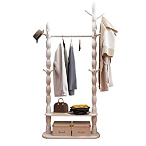 Amazon.com: BEIGOO Garment Rack,Solid Wood Coat Rack Floor ...