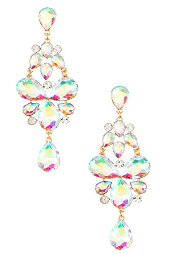 Karmas Canvas Faceted Crystal Gem Drop Evening Earring (Gold/AB)