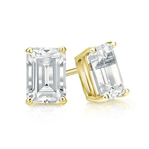 bbamjewelry Certified 4-Prong Basket Emerald Cut Real Moissanite Stud Earrings In Solid 14K Yellow Gold