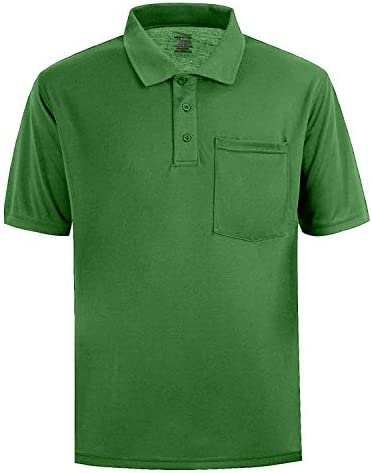 Men's Short Sleeve Polo Shirt Moisture Wicking Performance Dry Fit Golf Polo with Pocket