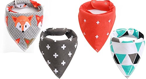 SALE Top Rated Baby Bandana Drooling Bibs! 4-pack, 100% Cotton/Polyester Blend - Adjustable for Infants / Baby / Babies / Toddlers of all ages! Perfect for Gifts of Teething/Drool (Made Outfit)