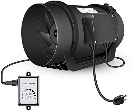 Hon Guan Inline Duct Fan with Variable Speed Controller 760 CFM, Low Noise EC Motor Ventilation Fan for Heating Cooling Booster, Grow Tents, Hydroponics 8 Inch