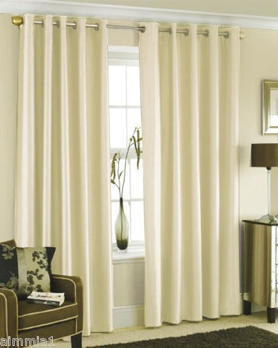 CHOCOLATE BROWN FAUX SILK LINED CURTAINS WITH EYELET RING TOP 66 x ...