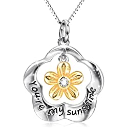"Sterling Silver ""You Are My Sunshine"" Engraved Daisy Flower Charms Pendant Necklace"