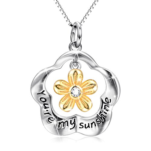 POPLYKE You Are My Sunshine Sterling Silver Two Tone Sunflower Pendant Necklace Jewelry Gifts for Women Girls