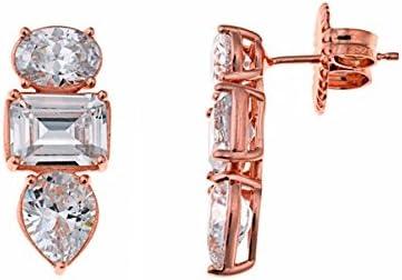 Pendientes de plata bañados en oro rosé, con cristales blancos, de Salvatore Plata.