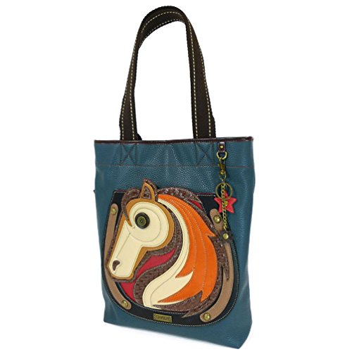 - CHALA Everyday Tote Women Handbag, Purse for Work or School, Shoulder Bag Totes with Detachable Keychain (Blue Tote-Horse)