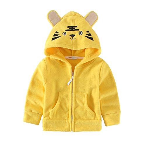 Mud Kingdom Cute Little Boys Fleece Animal Costume Hoodies Size 6/7 Yellow Tiger