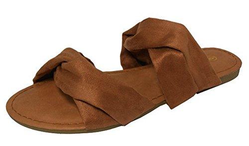 Cambridge Selezionare Donna Slip-on Soft Twist 2 Cinghia Piatta Scorrevole Sandal Tan