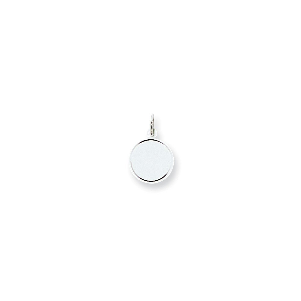 Mireval Sterling Silver Engravable Round Disc Charm (16 x 13mm)
