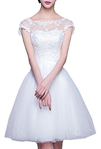 Scothen Vestido de vestidos cóctel abalorios parte cuello redondo señoras vestido boda vestido de traje de baile festivo Sheer aplicaciones alrededor del cuello Tul Vestidos de baile una línea White-b