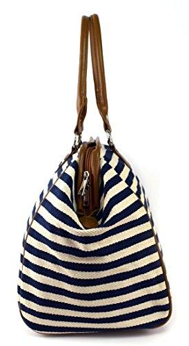Classic Nautical Stripe 17'' Framed Duffel Bag Carry On Shoulder Tote Handbag by Tara's Travelers (Image #3)