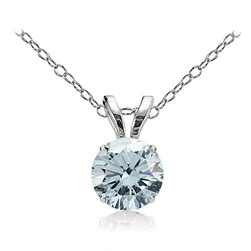 Bria Lou 14k White Gold Natural Aquamarine Gemstone 5mm Round Solitaire Pendant Necklace, - Necklace Pendant Aquamarine