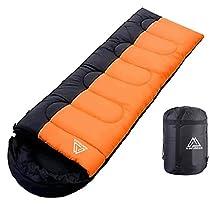 寝袋 封筒型 軽量 1kg 1.4kg 春、夏、秋に最適 フード付き 220cm...