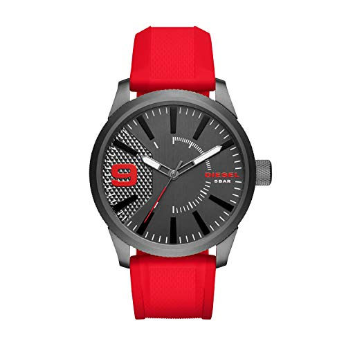 Diesel Silver Black Band Watch - Diesel Men's DZ1806 Rasp Gunmetal IP Red Silicone Watch
