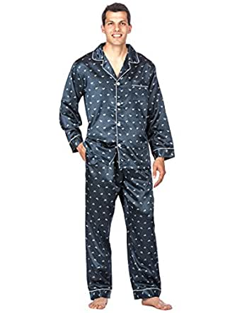 Noble Mount Mens Premium Satin Pajama Sleepwear Set - Boat Navy - Medium