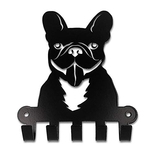 Pet-Deco French Bulldog Leash Holder | Easy Wall Mount Key Rack Organizer for Dog Leashes, Keys and Coats for French Bulldog and Dog Lovers | Metal Plate – Never Bend Technology from Pet-Deco