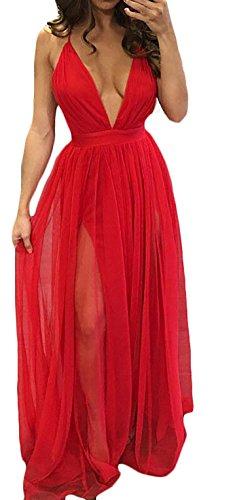 Damen Abendkleid Lang Elegant Sommer Chiffon Kleider Ärmel Tiefem V  Ballkleid Cocktail A Linie Schlitz Irregular f748df92bf
