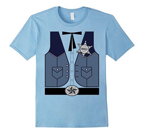 Men's Western Cowboy Sheriff Costume T-Shirt Small Baby Blue (Mens Cowboy Costume Tshirt)