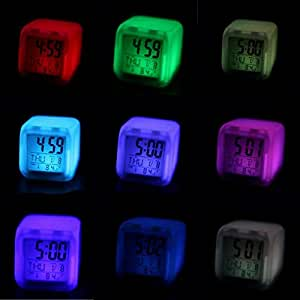 Snner niños Reloj Despertador Despertador de luz LED Reloj Digital Despertador 7 Colores Que cambian 1 PC