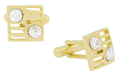The Jewelbox Square American Diamond CZ 18K Gold Plated Brass Cufflink Pair for Men