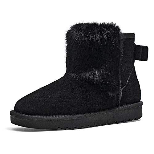BYUYAN Stiefel Schnee im Winter Stiefel weiblichen Short-Pu Kurze Stiefel Flache Stiefel Student Baumwolle Schuhe Plus Baumwolle warme Schuhe aus Baumwolle