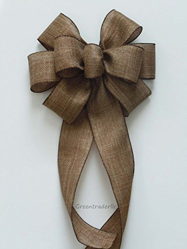 Rustic Burlap wreath bow Rustic burlap Wedding Pew Bow Vineyard Wedding Bow Church Bow Burlap Decoration Chair Bow Christmas Burlap Bow