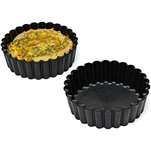 Matfer Bourgeat Exoglass Small Pie Pan, Fluted Sides, 4 inch, 12PK Black 345151