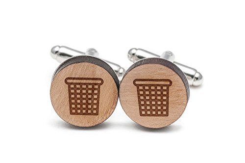 Wooden Accessories Company Wastebasket Cufflinks, Wood Cufflinks Hand Made in The USA
